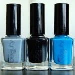 Swatches of Gina Tricot Beauty – 62 Concreate Jungle, 01 Black & 52 Azure Blue