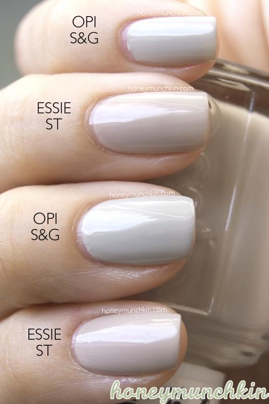 Comparison of Essie – Sand Tropez & OPI – Skull and Glossbones ...