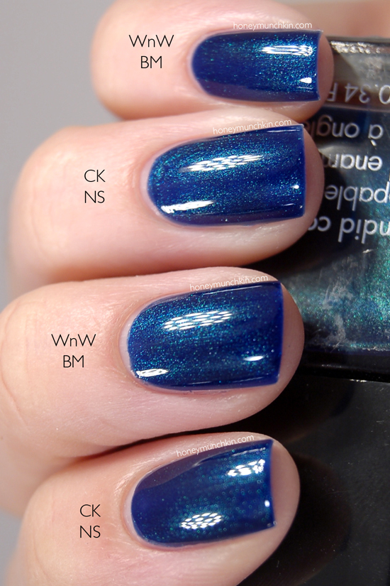 Calvin Klein - Navy Sparkle & Wet N' Wild - Blue Moon nails