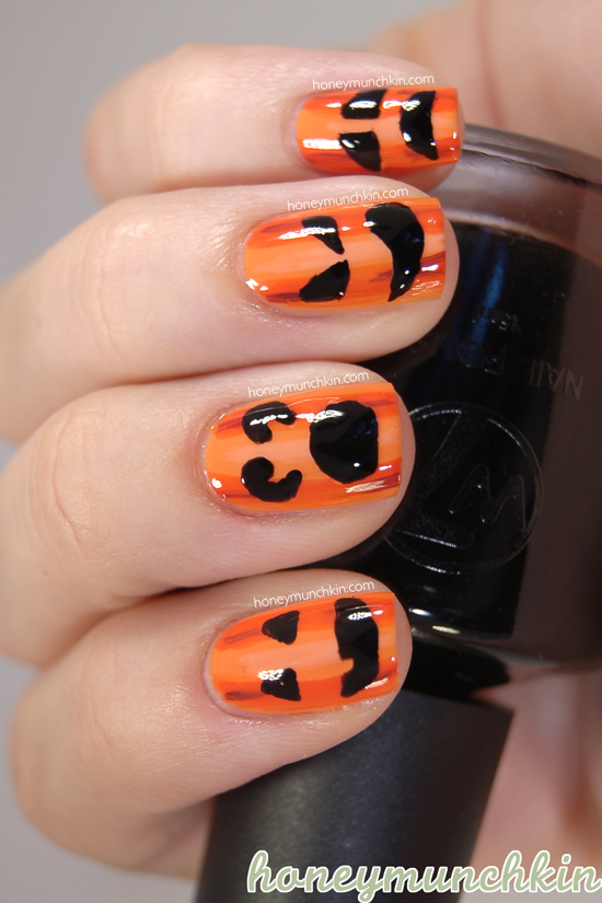 Halloween Pumpkin nails by Honeymunchkin
