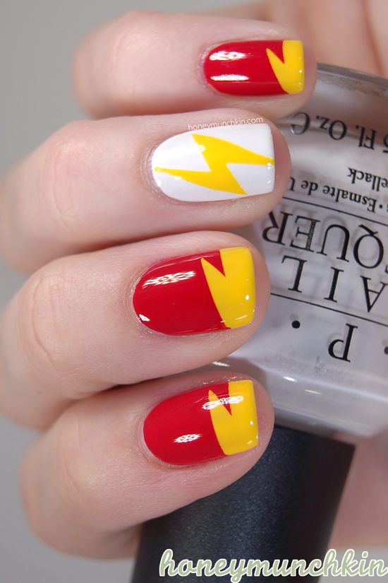 DC Superhero Nail Art Series - Flash by Honeymunchkin