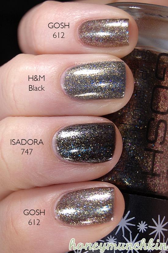 GOSH - 612 Galaxy, IsaDora - 747 Oasis & H&M Black