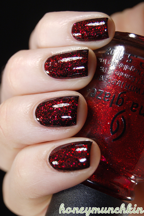 Layering: W7 - 28 Black, OPI - Stay the Night & China Glaze - Ruby Pumps by honeymunchkin.com