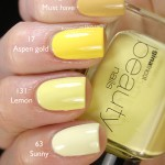 Comparison of the yellow Gina Tricot Beauties &#8211; 92 Must Have, 17 Aspen Gold, 131 Lemon &amp; 63 Sunny