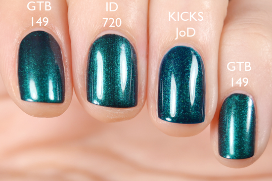 Comparison of Gina Tricot Beauty - 149 Sea Bug, IsaDora -720 Beetle Green and KICKS Jewel of Denial