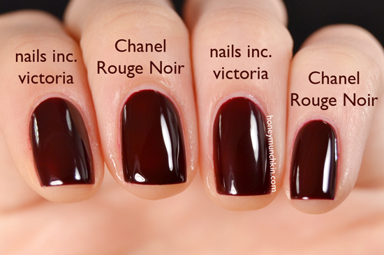 comparison of nails inc victoria and chanel 18 rouge noir honeymunchkin. Black Bedroom Furniture Sets. Home Design Ideas