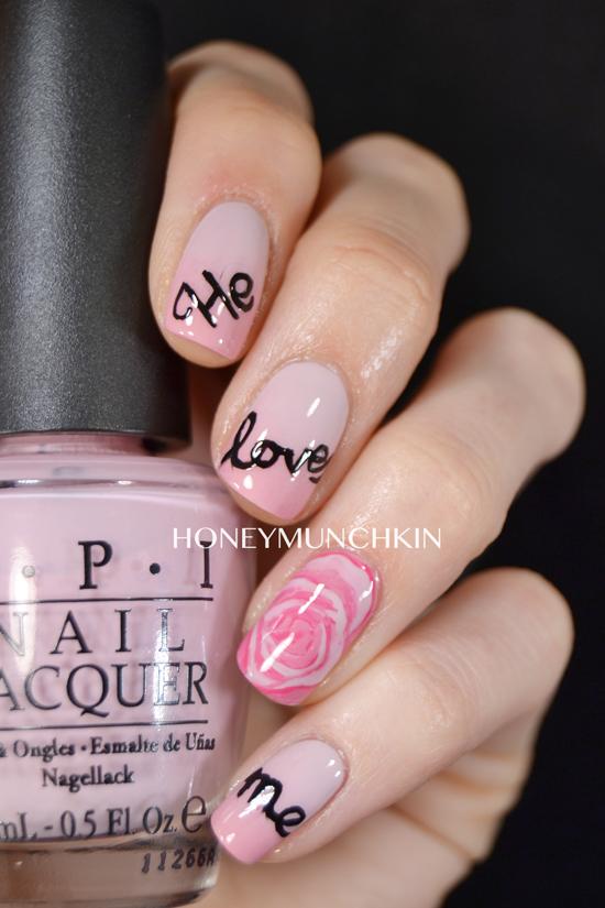 Nail art Valentine's by honeymunchkin.com