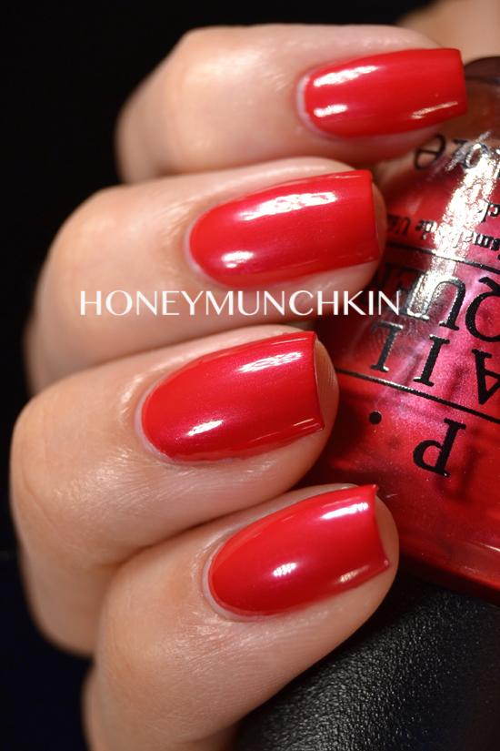 Swatch of OPI - OPI Red by honeymunchkin.com