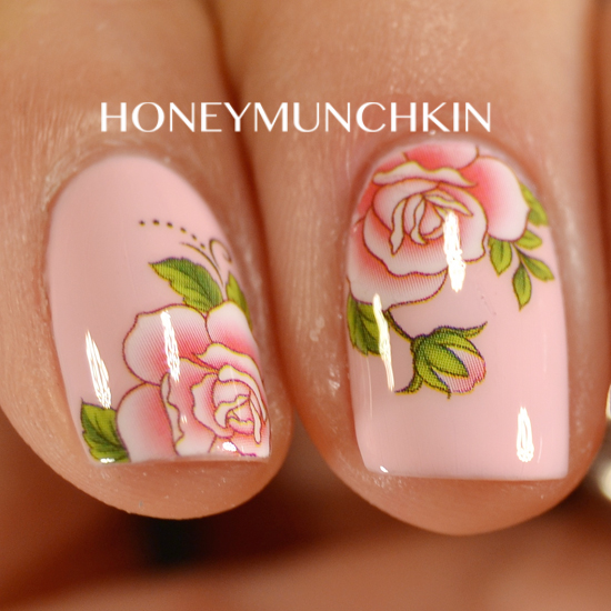 Review of Pink Rose water decals (G103) from BornPrettyStore.com by honeymunchkin.com