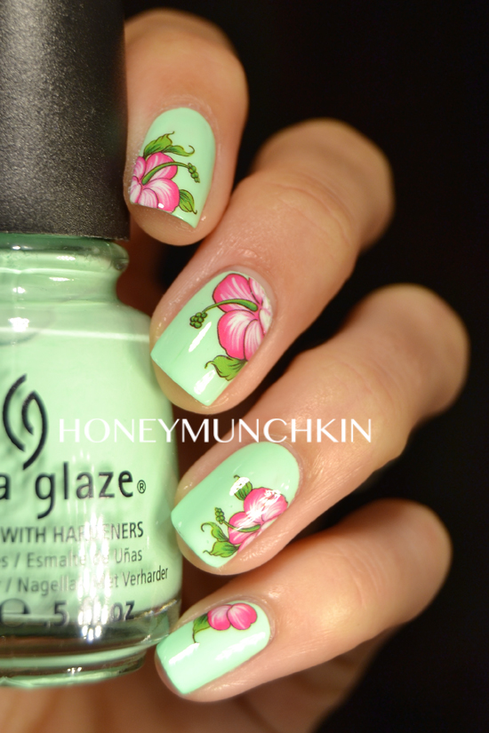 Review of Pink Hibiscus Flower water decals (G113) from BornPrettyStore.com by honeymunchkin.com