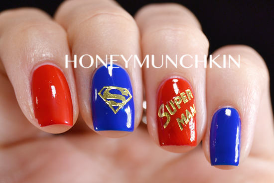 Review of Golden Superhero Water Decals (C061) from BornPrettyStore.com - Superman by honeymunchkin.com
