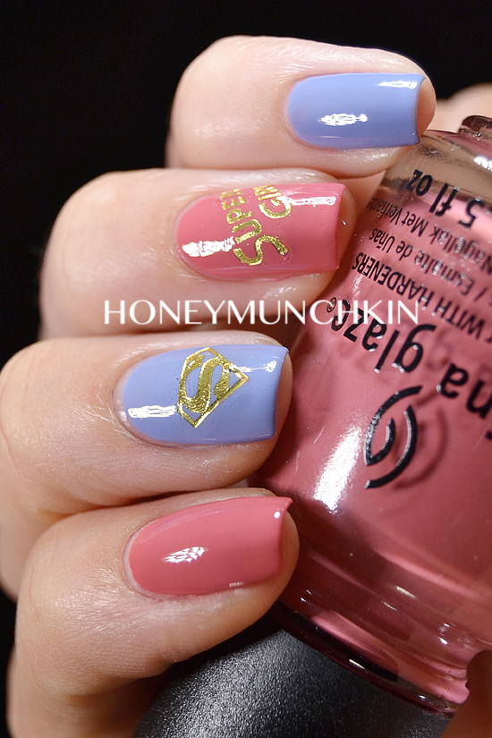 Review of Golden Superhero Water Decals (C061) from BornPrettyStore.com - Supergirl by honeymunchkin.com