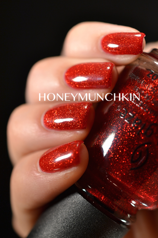 Red glitter gel nails by honeymunchkin.com